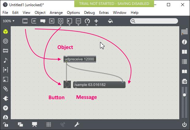 Max MSP で作ったパッチ。udpreceive オブジェクトを使って、受信したメッセージを Message オブジェクトに流している。