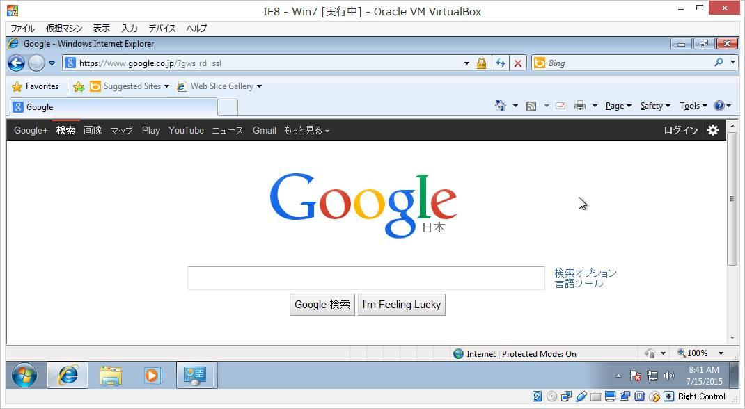 VirtualBox内のIEで開かれたページ